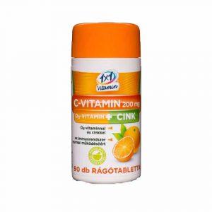 C-Vitamin+D3-Vitamin + Cink Rágótabletta 90 db
