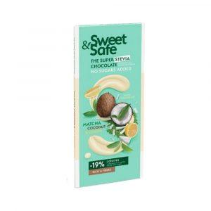 Sweet&safe Fehércsokoládé Matcha-kókusz-citrom 90 g